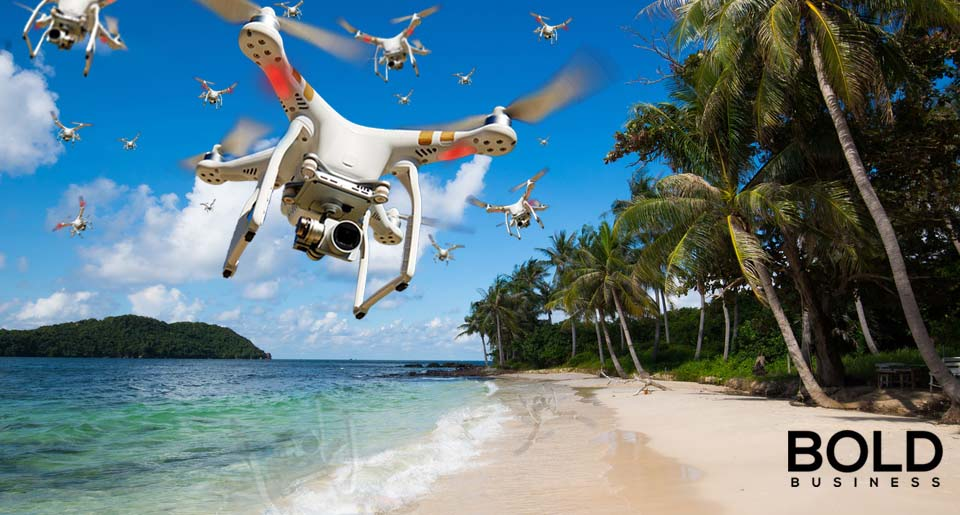 Drone swarm over the beach