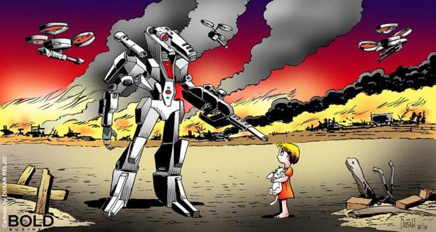 Robot threatening a little girl.