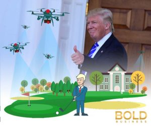 Trump and drone and golf course