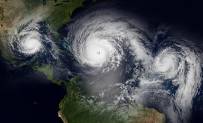 Satellite image of hurricanes Jose, Irma and Maria