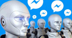 multiple humanoid robot images with talk bubbles