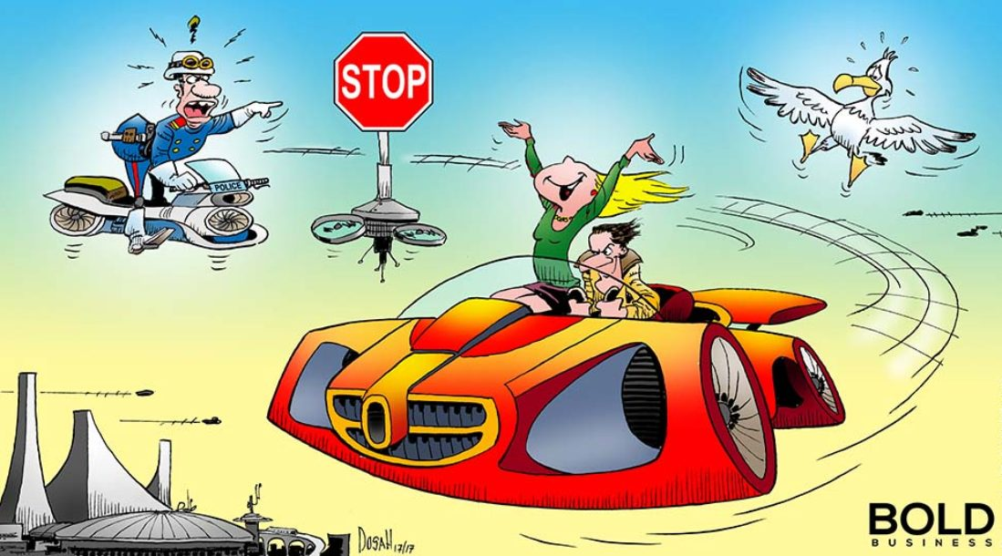 a cartoon of flying car technology