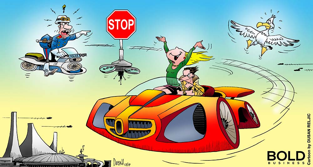 a cartoon of flying car technology