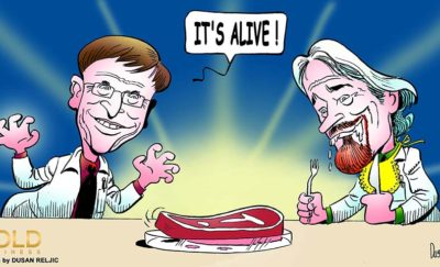 a cartoon of Bill Gates and Richard Branson looking at a piece of lab-grown meat amid their decision to invest in Memphis Meats