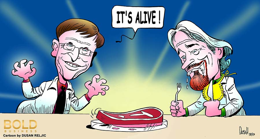Cartoon of Gates, Branson and a piece of lab grown meat