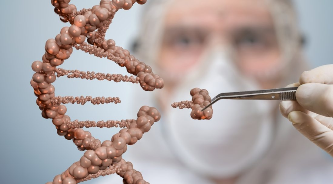 a photo of a scientist replacing bits of a magnified DNA strand amid the latest tests on DNA editing of human embryos
