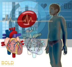 Medical graphic with hearts, boy, and a signal line.