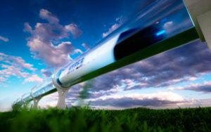 High speed train in countryside.