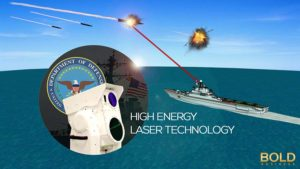 Laser weapons on a ship shoot down missiles.