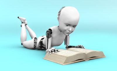 a robot reading a book