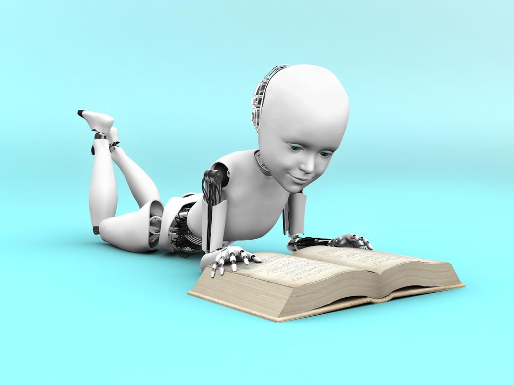 a robot reading a book