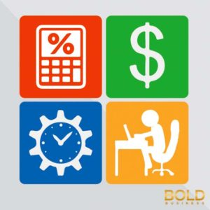 Graphic of a calculator, dollar sign, clock, employee