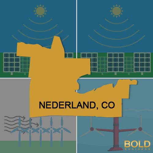 a photo of a map of Nederland, Colorado with a background of shadowy illustrations of solar farms and wind farms, all in relation to the discussion about renewable energy in Colorado