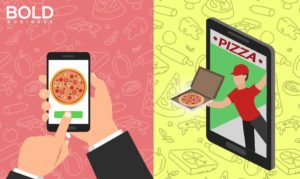 An app for ordering pizza on a phone.