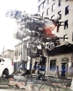 killer robots used in battle on city street.