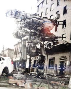Battle robot on city street.