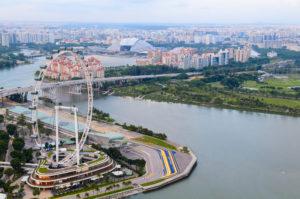 Singapore river and skyline