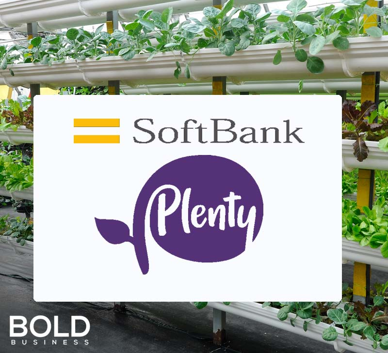 a photo containing images of SoftBank and Plenty logos on vertical farm photo amid the existence Plenty vertical farming