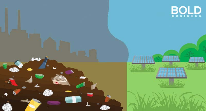 a photo illustration of two fields, a brownfield full of garbage on the left and a brightfield filled with solar panels, depicting the trend of turning brownfields into brightfields amid the advancing sector of renewable energy plants
