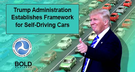 Trump in front of a freeway.