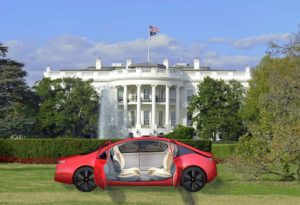 Driverless Car in front of White House
