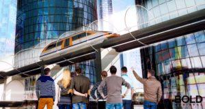 futuristic train in town.