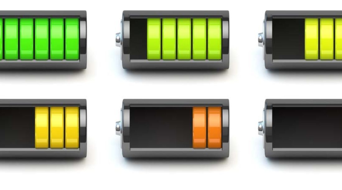 a photo of six colored batteries representing low and high energy charges in connection to the topic of battery storage for renewable energy