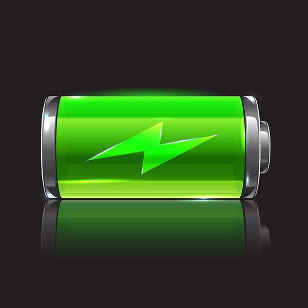 a photo of a green battery showing a full charge in a black background in relation to the topic of stretchable batteries