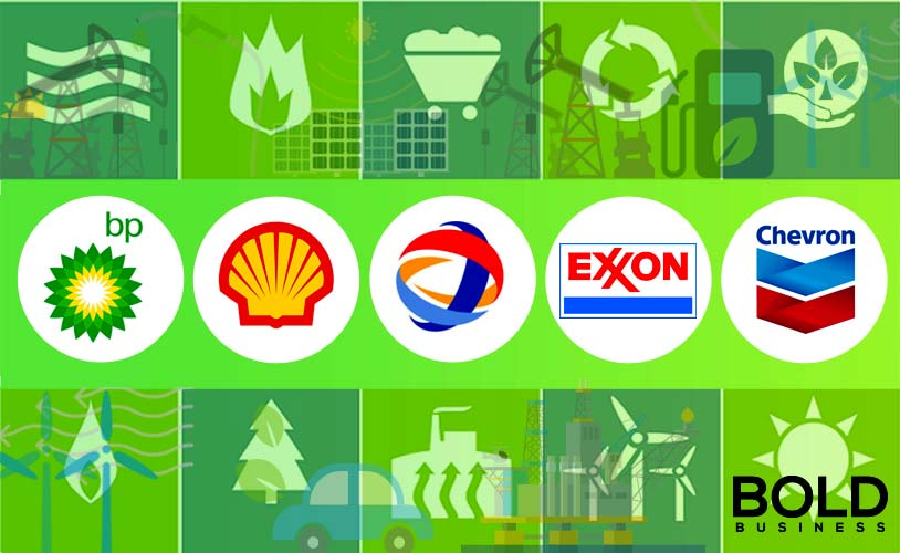a photo of company logos of Big Oil companies that are part of the rising trend of Big Oil investments in renewable energy