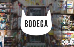 Bodega logo and bodega in background.