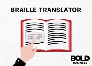 Book with a Braille Translator on it, sample of braille devices for the blind.