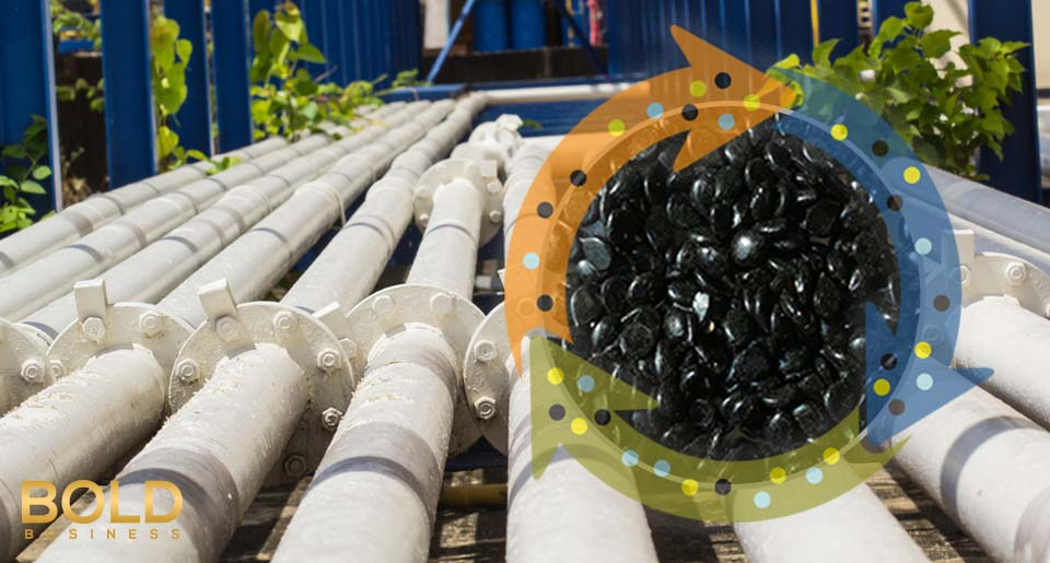 a photo of oil pipelines and bitumen pellets