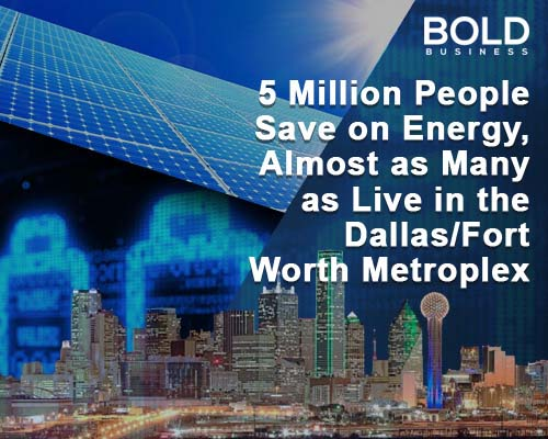 a photo of the Dallas Skyline and written data about 5 million people saving energy