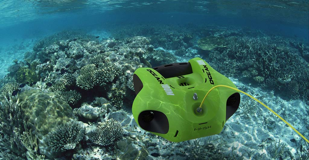 Unmanned underwater vehicles in action in a coral reef.