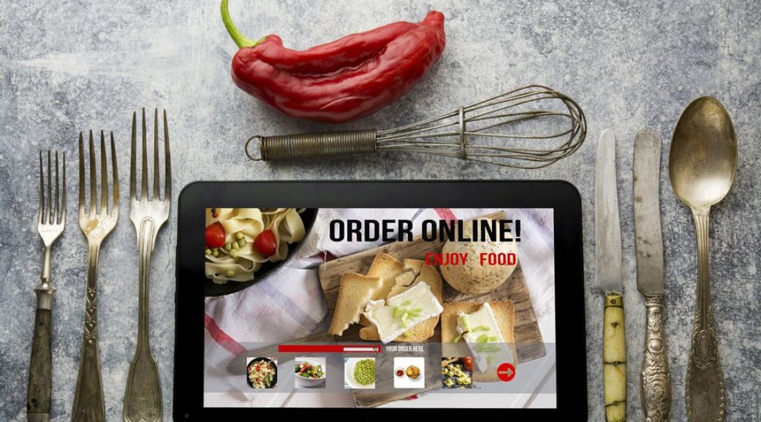 Tablet showing a ordering food online app