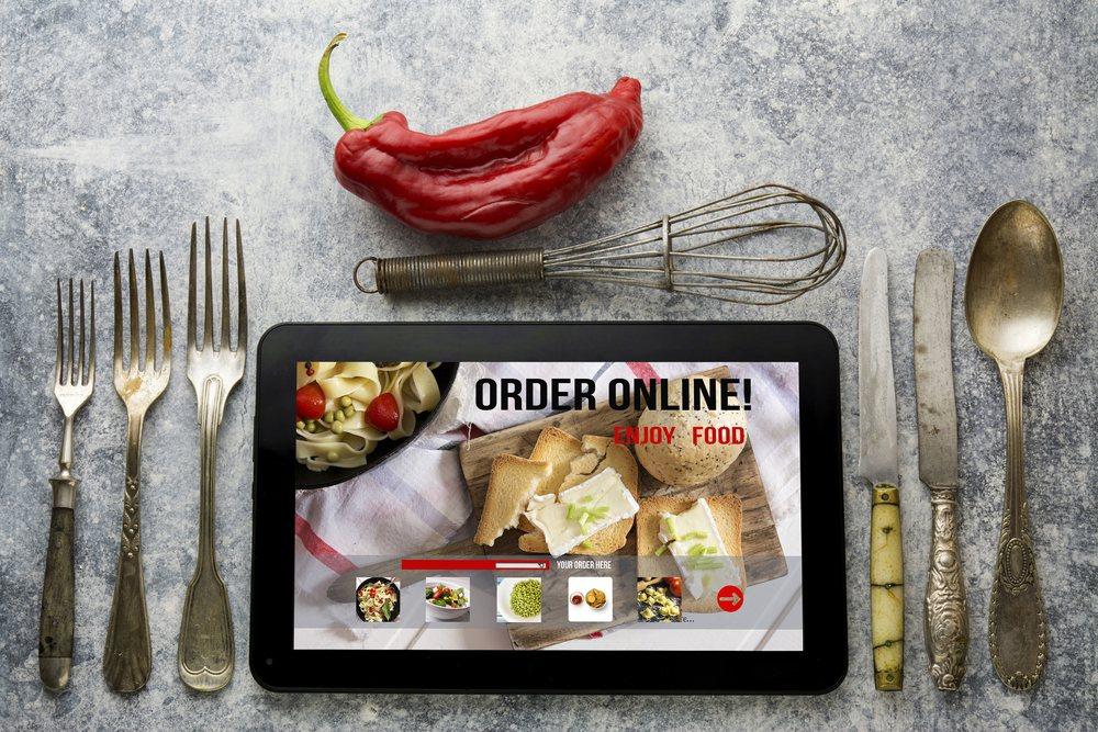 Tablet showing a ordering food online app