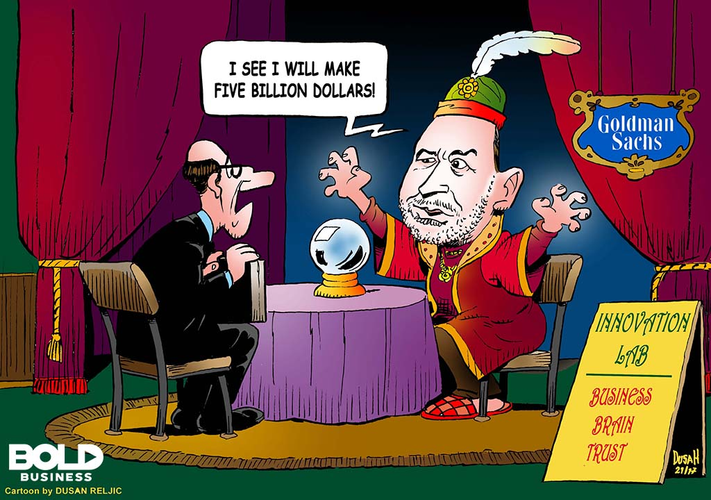 Goldman Sachs as a Fortune Teller cartoon