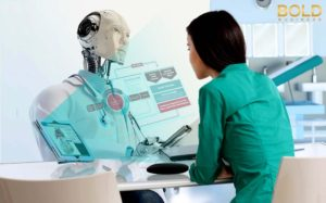 Artificial intelligence in healthcare - AI robot discussing with a patient.