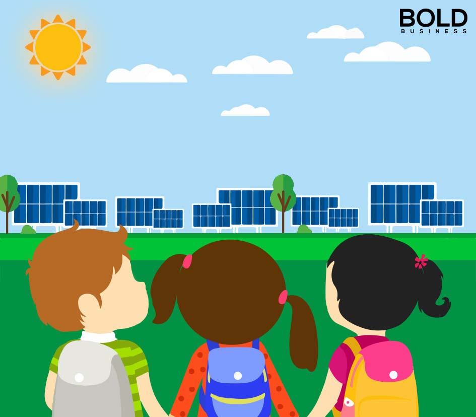 a cartoon illustration of three school kids looking at solar panels in the far distance amid the idea that One hundred thirty-nine countries could be using 100 percent renewable energy by 2050