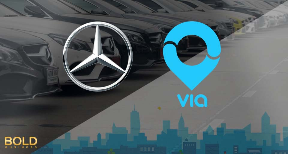 Logos of Mercedes Benz and Via