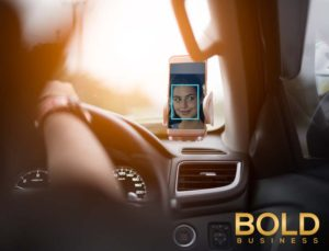 A smart phone watches a driver to ensure she is awake.