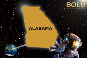 Alabama map and space man.