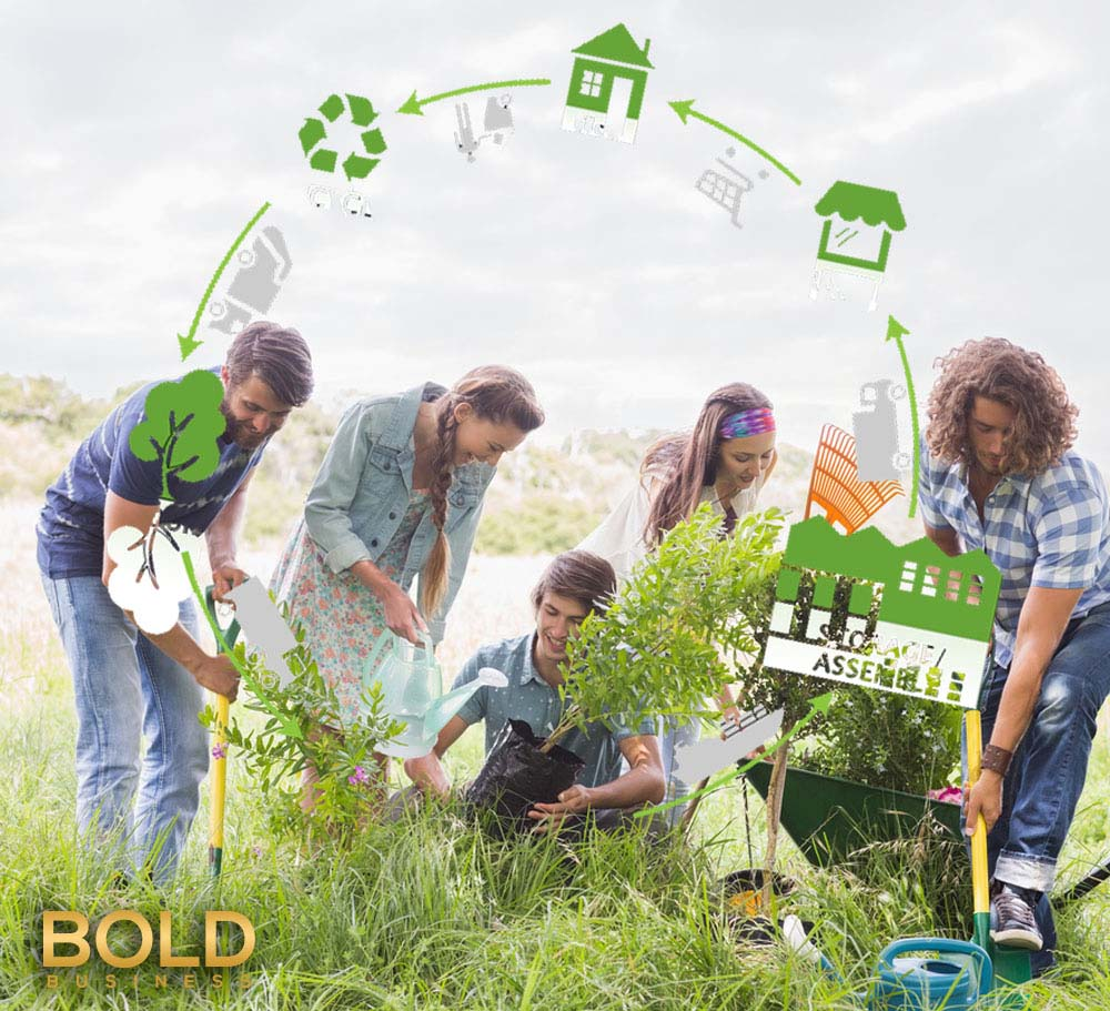 a photo of people gardening and cleaning up in the middle of a green field in relation to the topic of trash-to-energy technology coming to the United States