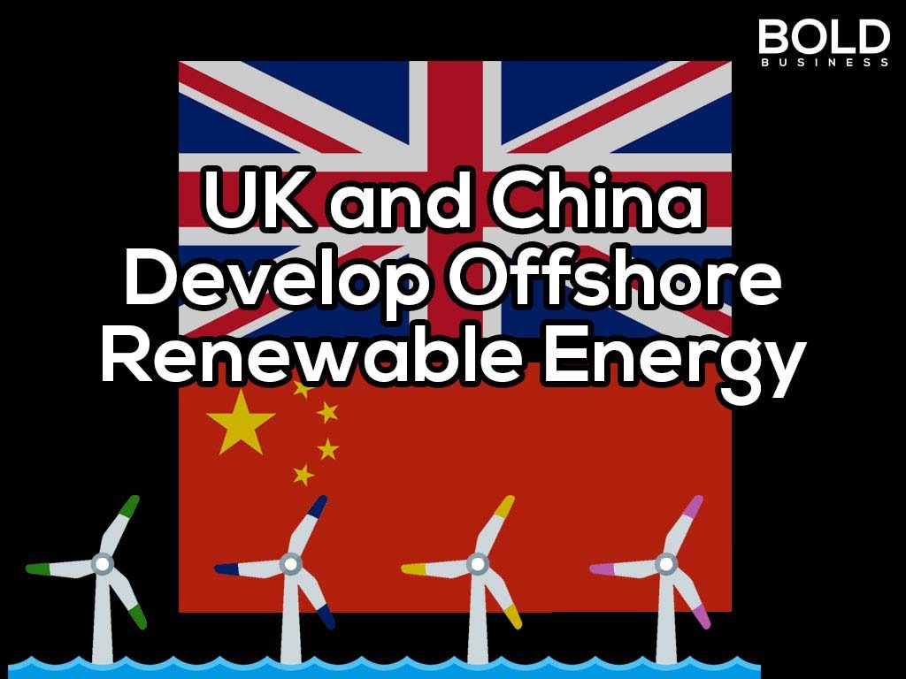 a photo of the U.K. and Chinese flags with offshore wind turbines below the two flags, symbolizing the two countries' joint offshore renewable energy project