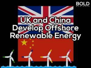 UK and Chinese flags with offshore wind turbines.