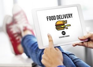 Food Delivery app on tablet.