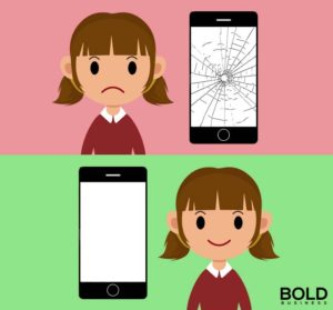 Girl with broken phone, girl with not broken screen. Motorola's self healing phone screens.