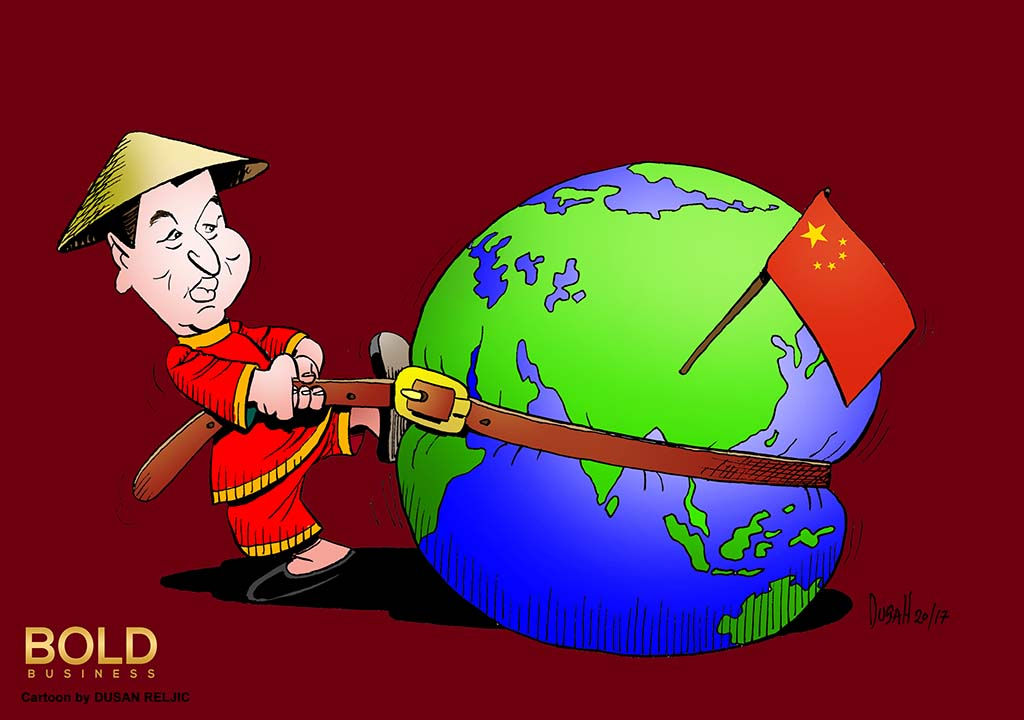 China's President Xi squeezing the Globe with a belt.