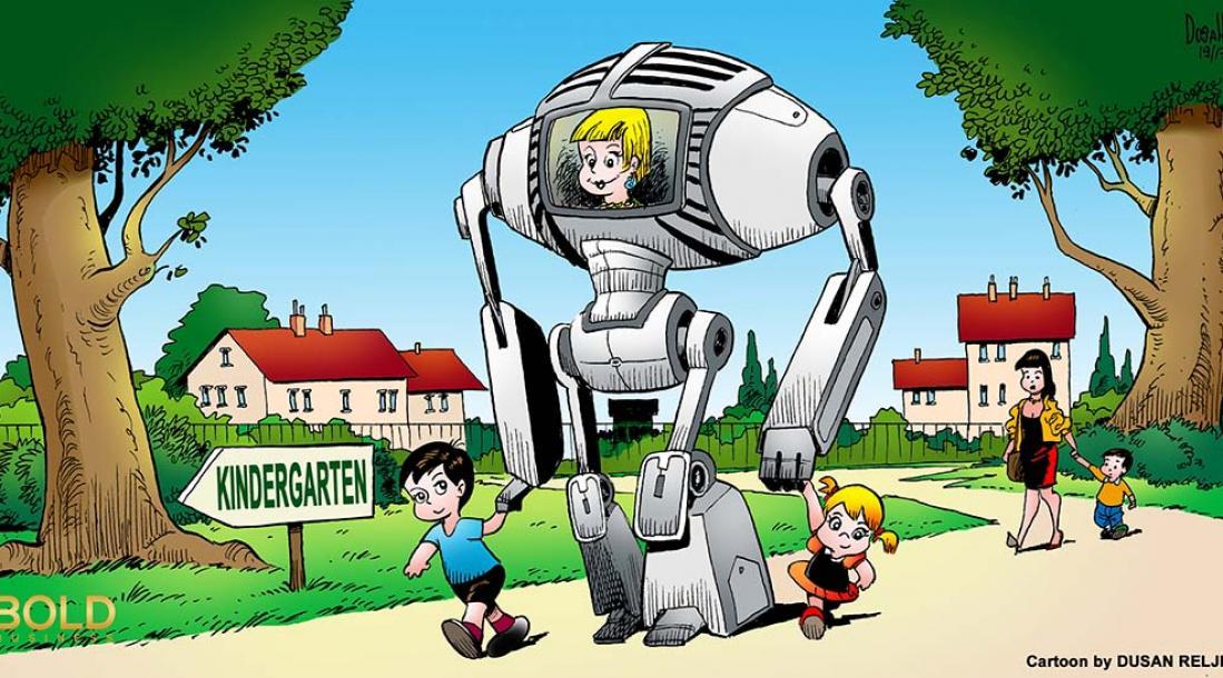 kindergarten students being lead to school by a robot teacher