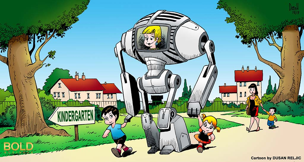 kindergarten students being lead to school by a robot teacher